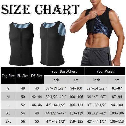Men/'s Waist Trainer Vest Weight Loss Hot Polymer Sweat Body Shaper Workout Shirt