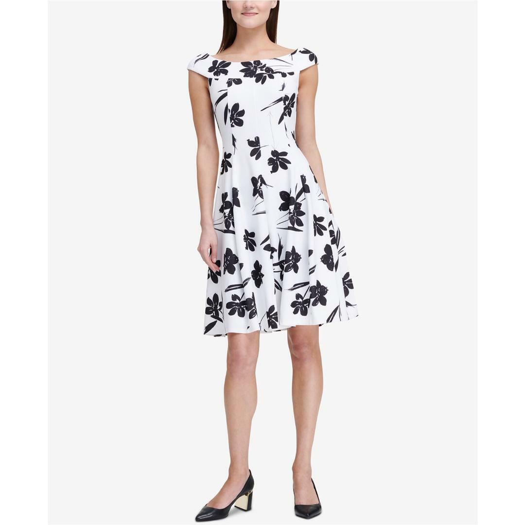 DKNY damen schwarz Weiß Fit & Flare Dress Off Shoulder Floral Scuba Sz 8 NWT