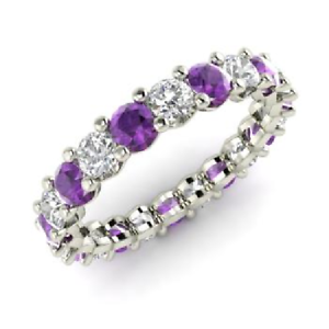 2.54 Ct Amethyst Round Cut Diamond Engagement 925 Sterling Silver Eternity Band