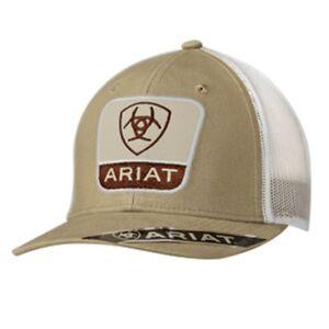 1056214eb8c Ariat Western Mens Hat Baseball Cap Mesh Back Logo Patch Tan Brown ...