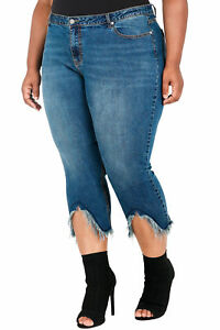 d39fa10af7a Poetic Justice Plus Size Women s Curvy Fit Cropped Frayed Step Hem ...