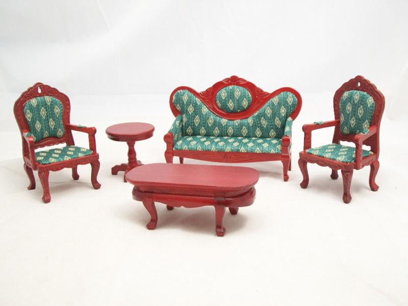 Living Room Set Victorian Grün dollhouse parlor T0101  1/12 scale miniature