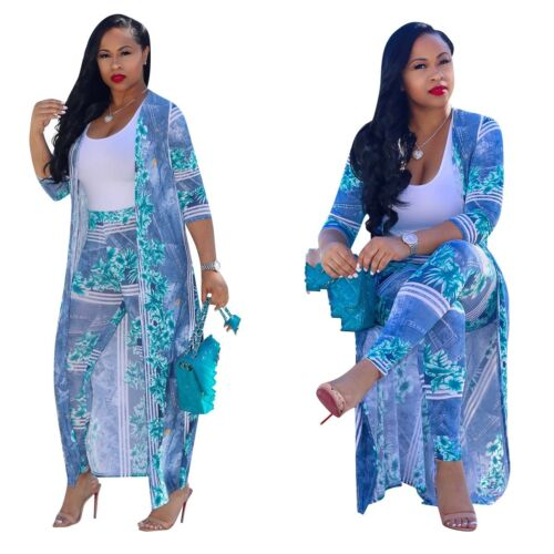 Fashion Kimono Jacket 1//2Sleeve Cover Up Long Dress coat+leggings ONE Set A7583L