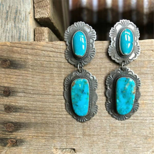 Vintage Jewelry Silver Turquoise Gemstone Hook Dangle Stud Earring Party Gifts