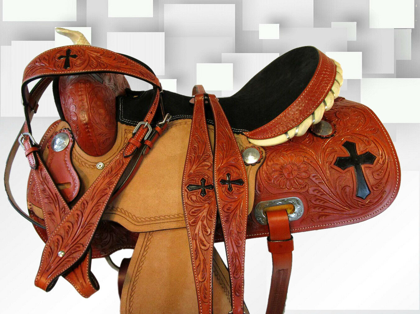 GAITED BARREL RACING PLEASURE TOOLED LEATHER TRAIL WESTERN HORSE SADDLE 15 16