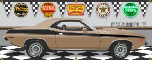 1973 PLYMOUTH CUDA COPPER GOLD CUSTOM GARAGE SCENE BANNER SIGN ART MURAL 2/'X5/'