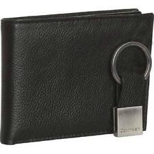 New Calvin Klein Men's Black Leather Passcase Billfold Wallet Key Fob 79080