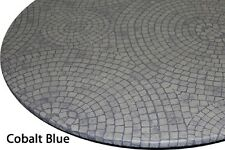 "Table Cloth Bistro 24"" to 35"" Elastic Edge Vinyl Table Cover Mosaic Cobalt Blue"