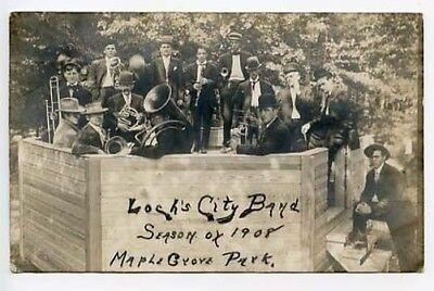 Weitere Ballsportarten Maple Grove Mn Baseball's Stadt Band 1908 Rppc Echt Foto Postkarte