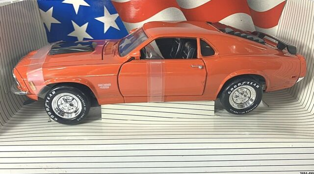 #7485 American Muscle Calypso Coral 1970 Ford Boss 429 Mustang Die Cast 1:18