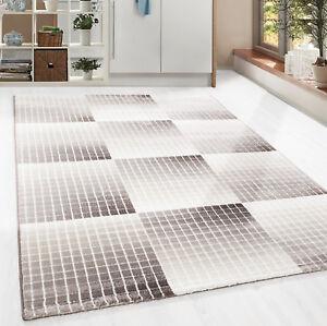 Eleganter-Kurzflor-Teppich-abstrakt-Mosaik-kariert-Wohnzimmer-Braun-Meliert