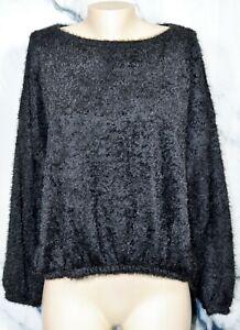 JENNIFER-LOPEZ-Fuzzy-Black-Sweater-XXL-3-4-Sleeves-Unlined-Polyester-Elastic-Hem