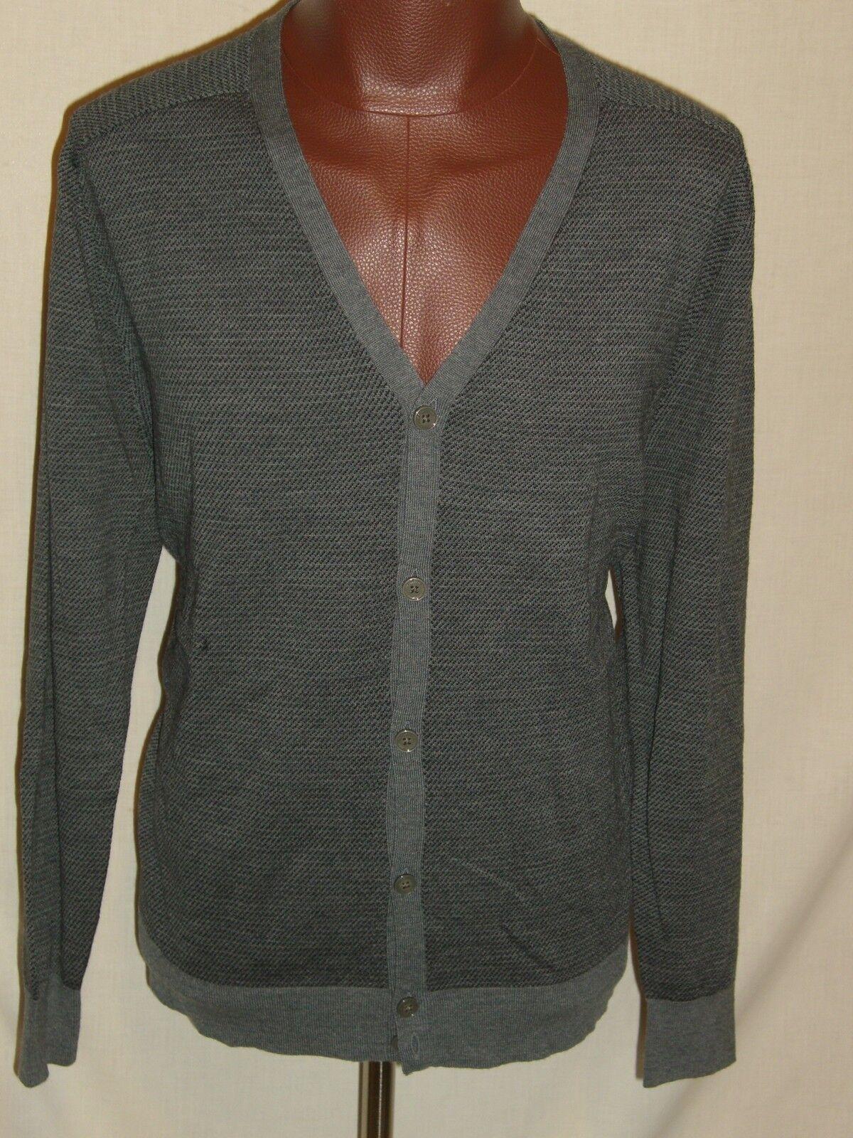 HART SCHAFFNER MARX Dk grau Fine Merino Wool Cardigan Sweater - XL - NWT 150