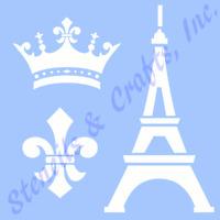 "EIFFEL TOWER STENCIL CROWN FLEUR DE LIS TEMPLATE STENCILS CRAFT NEW 6"" X 5"""