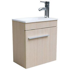 Wood color 16 bathroom vanity cabinet combo set - Bathroom vessel sink vanity combo ...
