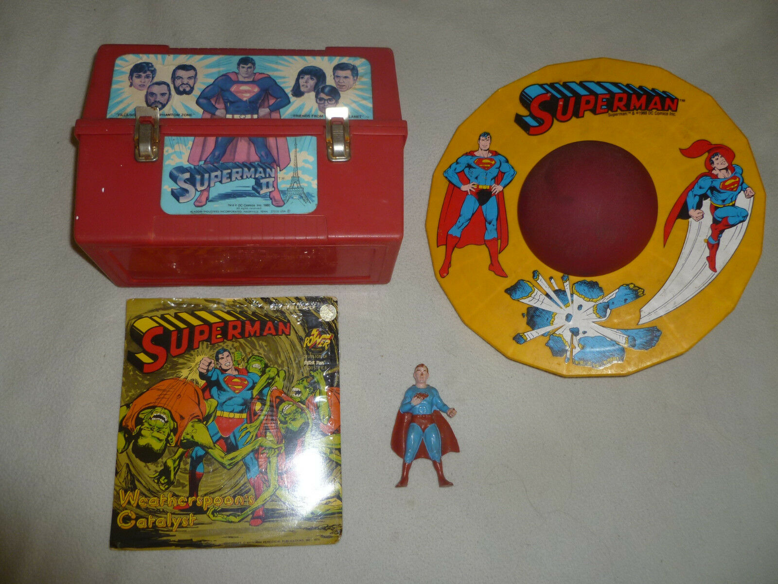 VINTAGE SUPERMAN LOT II LUNCH BOX FIGURE 7  RECORD LP POGO MINI BALL 1970S 1980S