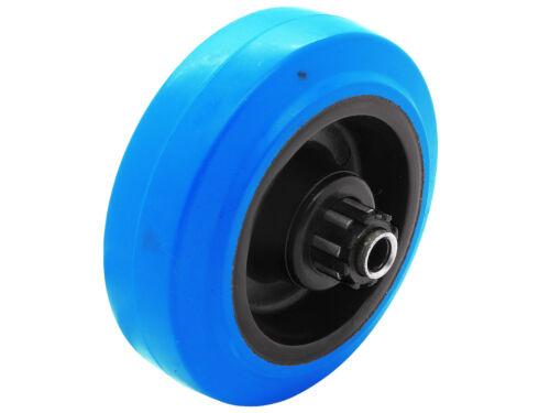 4 x Vollgummi Blue Wheels Transport Schwerlast Lenk Rolle Ø 100 mm Lenk-Brems