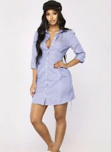 Details about fashion nova get to work shirt dress,Royal size Xs