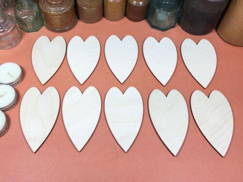 x10 WOODEN FOLK HEARTS Shapes 10cm laser cut wood crafts blank shape