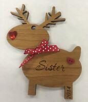 PERSONALISED CHERRY WOOD REINDEER RUDOLPH XMAS CHRISTMAS TREE DECORATION SISTER