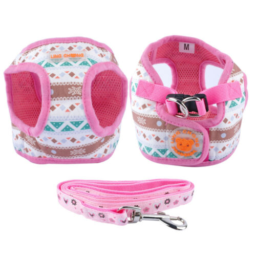 Soft Puppy Small Pet Dog Harness and Matching Leash Vest Set Pink Black XS S M