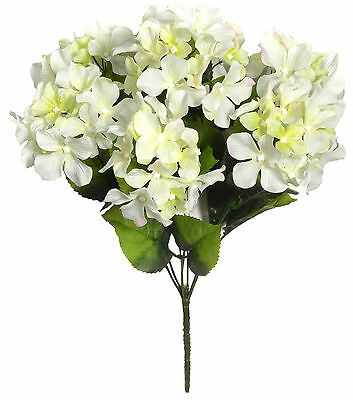40cm - 7 Head Hydrangea Posy Bouquet Silk Artificial Flowers Wedding Memorial