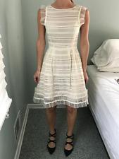 RED Valentino White Ruffle Trimmed Silk Chiffon Dress Size S