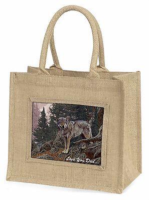 Mountain Wolf' liebe Dich Papa 'Große natürliche jute-einkaufstasche Weihnachten