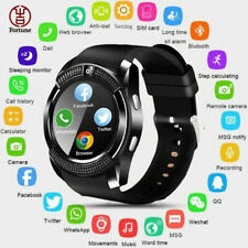Men Women V8 Bluetooth Smart Watch Round Touch Screen SIM GSM for Android iPhone