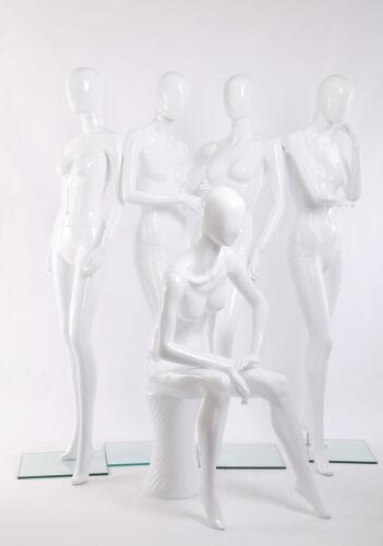 Egghead Schaufensterpuppe weiblich Figuren weiß glänzende lackierte Hautfarbe LV