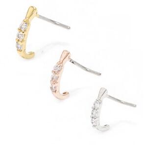 Nose-Ring-Stud-L-Shape-Bend-Screw-20G-Steel-Piercing-3-CZ-Nose-Crawler-6MM