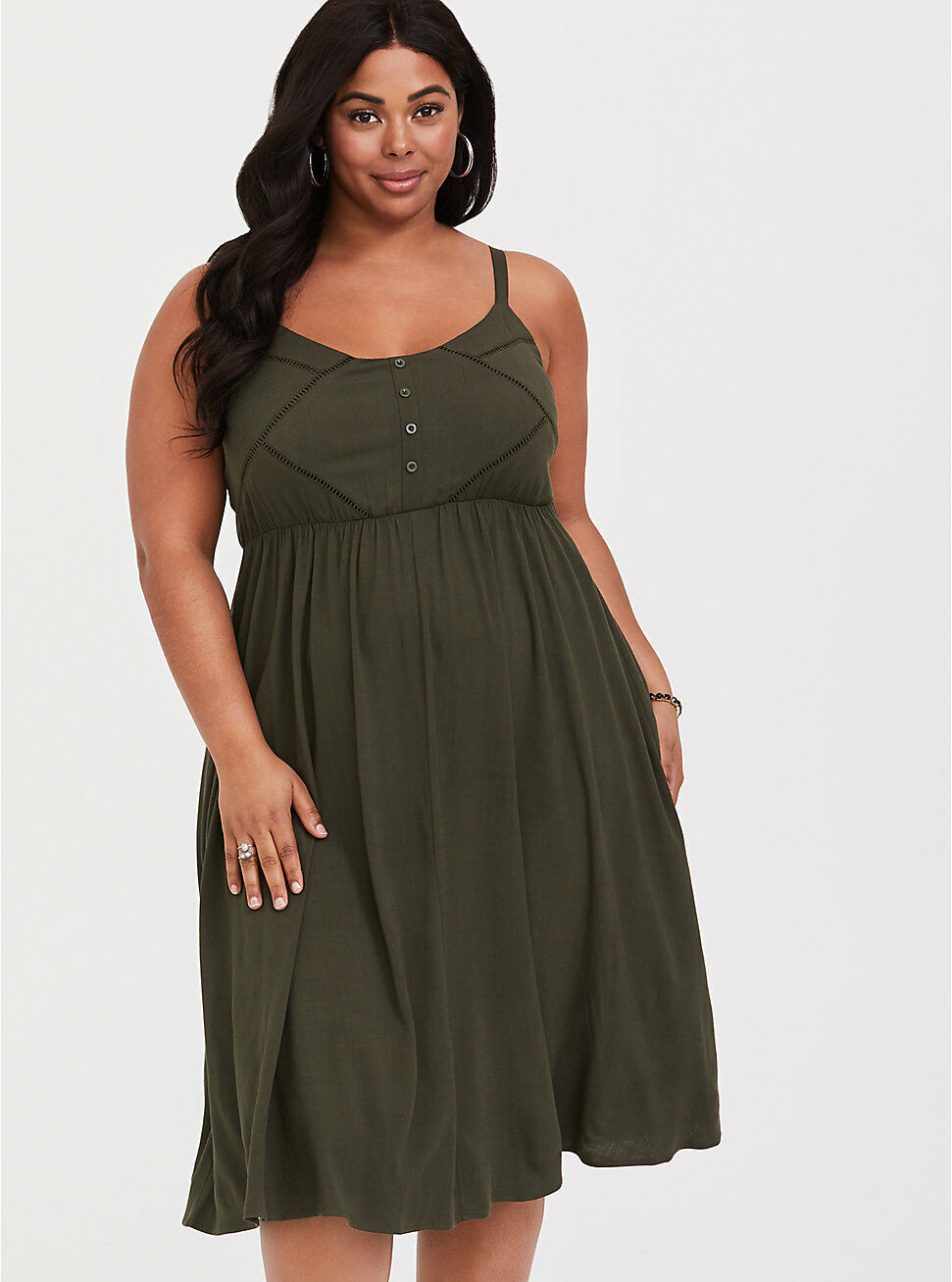 NWT damen Torrid Olive Grün Button Front Midi Dress Größe 12 0 Large