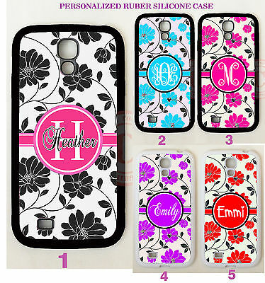 PINK BLACK FLOWERS FLORAL MONOGRAM PHONE Case For Samsung Galaxy S6 S7 EDGE NOTE