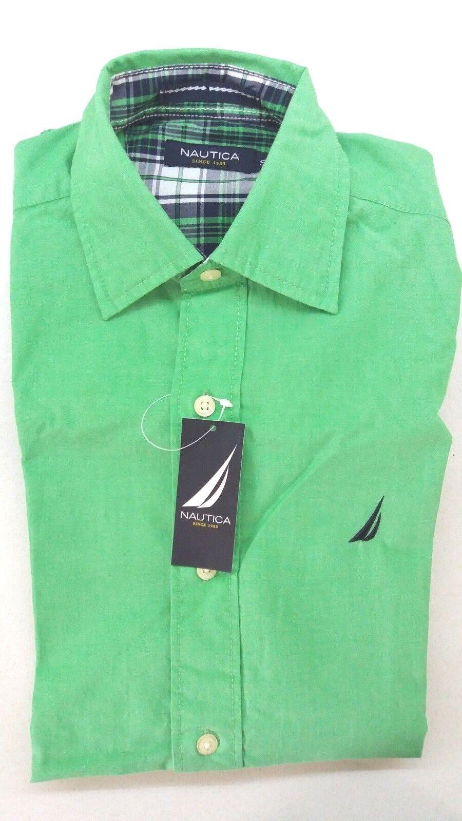 NAUTICA Men's Slim Fit Stripe Long Sleeve Shirt  color Green Size- S