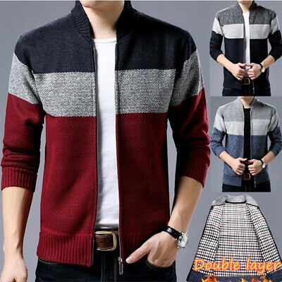 Warm Winter Sweaters Mens Knitwear Classic Pullovers Stand Collar Clothing