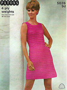 LADIES-CROCHET-PATTERN-LOVELY-VINTAGE-4ply-DRESS-5-SIZES-32-40-034-BUST