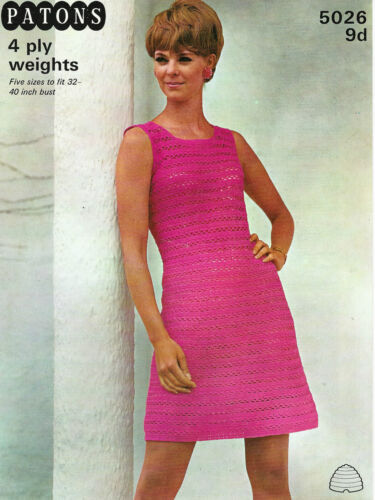 """LADIES CROCHET PATTERN LOVELY VINTAGE 4ply DRESS 5 SIZES 32-40/"""" BUST"""