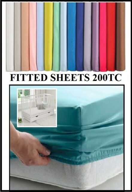 OVER 20 COLOURS 200TC TRAVEL COT FITTED Sheet VARIOUS SIZES COT BED
