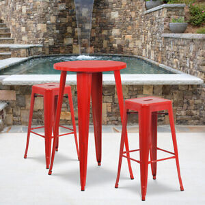 Fine Details About 24 Round Red Metal Indoor Outdoor Restaurant Bar Table Set W 2 Barstools Machost Co Dining Chair Design Ideas Machostcouk