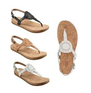 3895be45f NEW UGG Women s Ayden II Leather Thong Strap Sandals Shoes Sizes 6 7 ...