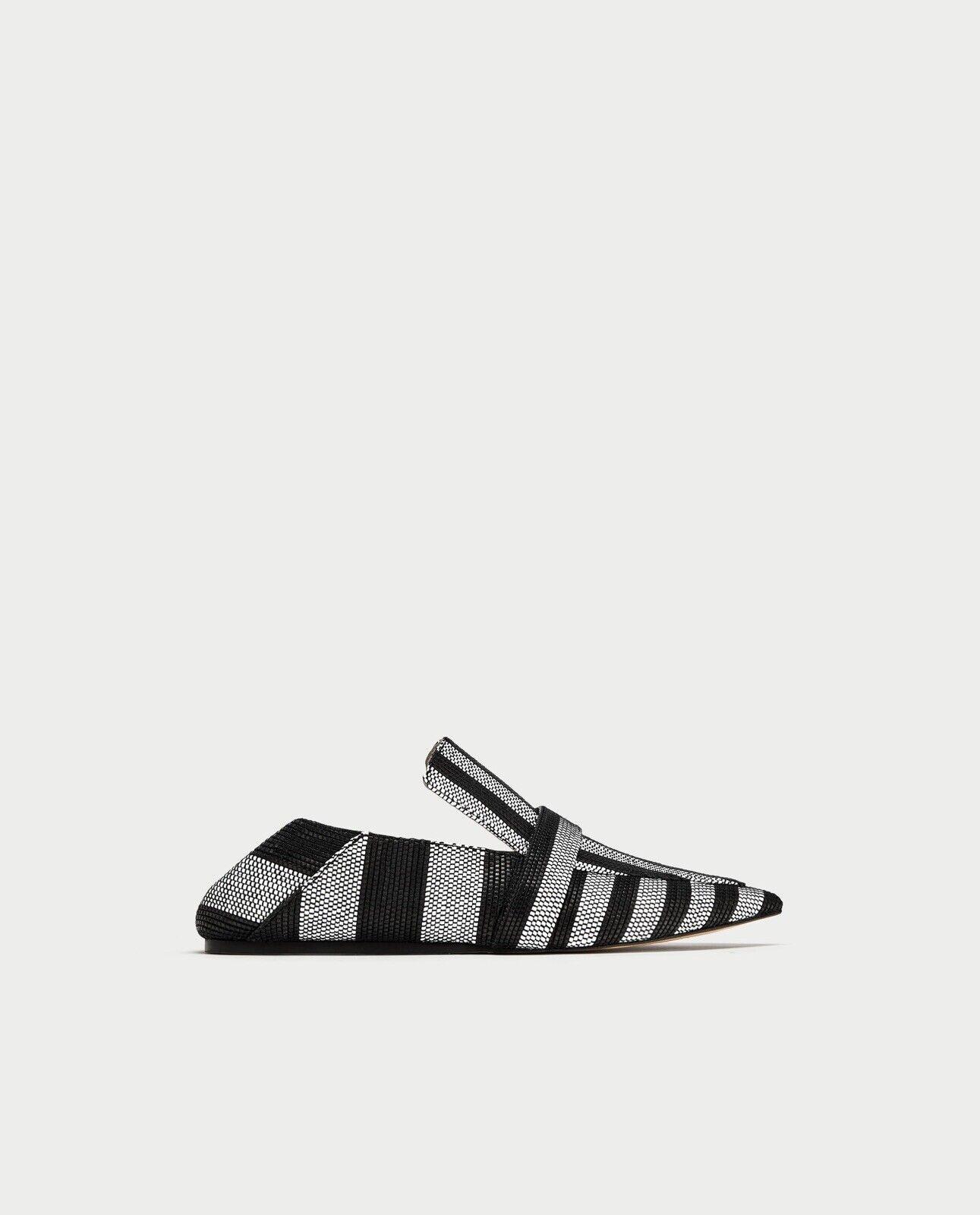 Zara Woman Striped Flat Mule Loafers 6436 201 Größe 8 NWT