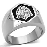 Mens Crystal Pave Shield Silver Stainless Steel Ring