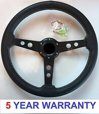 "AFTERMARKET CLASSIC CAR VINTAGE STEERING WHEEL 3 SPOKE 13"" INCH 350MM BLACK"