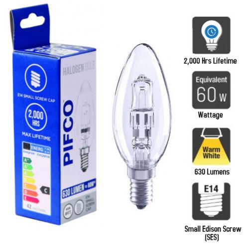 Lighting E14 Small Edison Screw Cap 10 X Pifco Halogen SES Candle ...