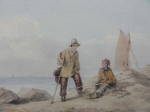 Antique-Original-Watercolour-Painting-of-two-boys-on-a-seashore-framed
