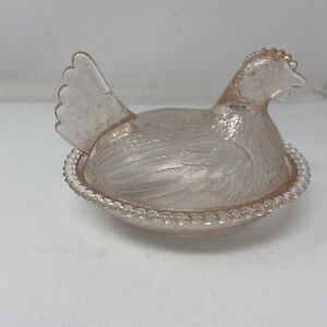 Vintage-Indiana-Glass-Light-Pink-Hen-On-Nest-Covered-Candy-Dish