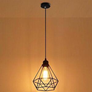 Industrial-Cage-Metallique-Style-Retro-plafond-lumiere-pendentif-Abat-Jour-Metal-ajustement-facile
