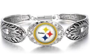 Pittsburgh-Steelers-Women-039-s-Sterling-Silver-Bracelet-Football-Gift-GiftPkg-D3-1