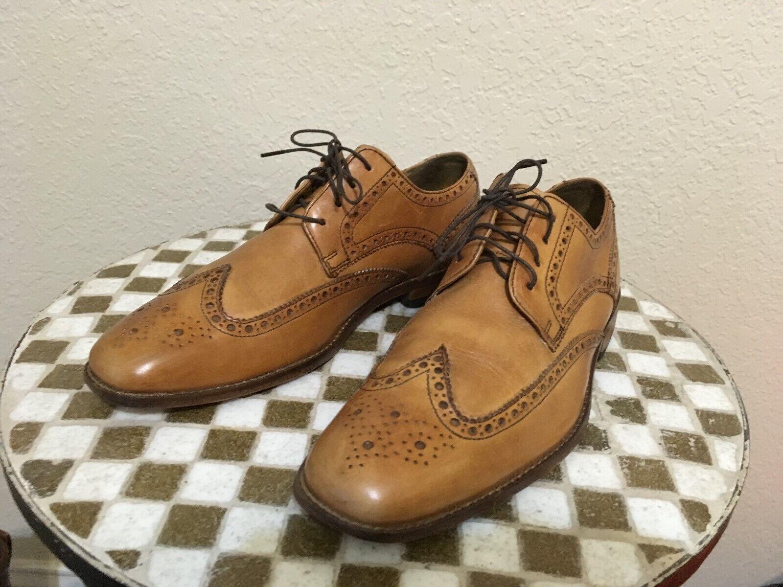 India COLE HAAN Wing Tip Marrón Zapatos de negocios de alimentación Vintage 9M