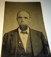 Antique Victorian American Old Man, Heart Shaped Pin / Brooch! Old Tintype Photo